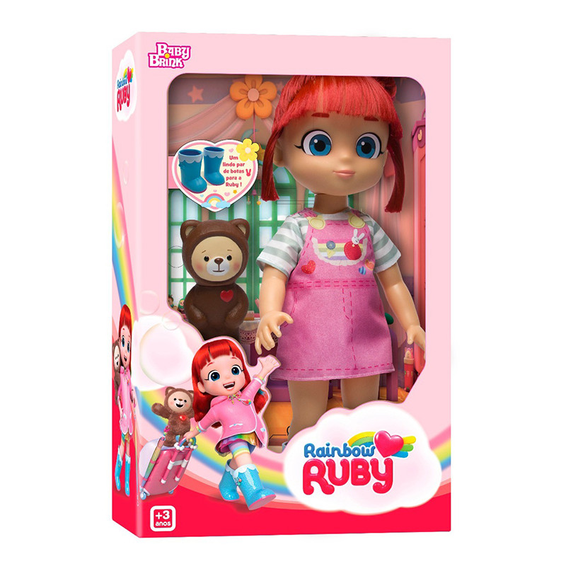 Boneca Rainbow Ruby C/ Urso Choco - BBRA Rosita